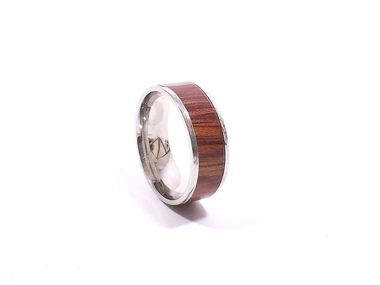 Men's Stainless Wooden Band Ring