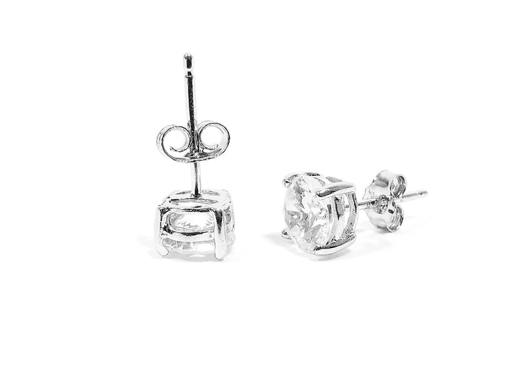 Round Brilliant Cut Sterling Silver CZ Stud Unisex Earrings ~ 6mm ~