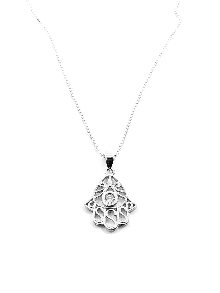 Sterling Silver Hamsa Hand CZ Necklace