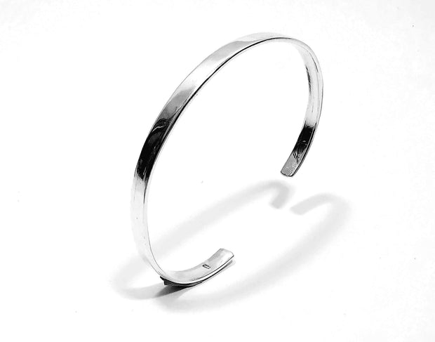 Silver Plain Design Bangle Cuff