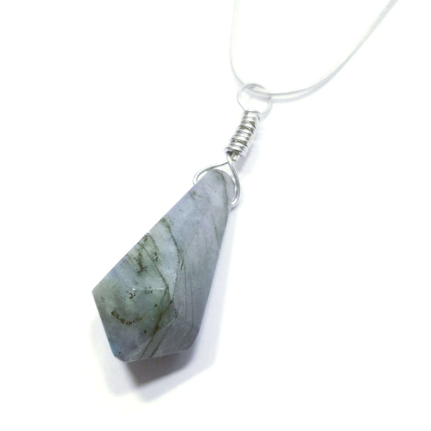 Fluorite pointed drop pendant with silver chain