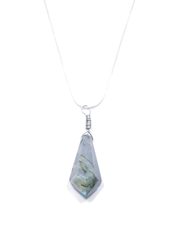 Fluorite point drop pendant with silver chain