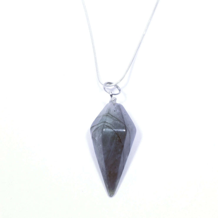 Fluorite point drop pendulum pendant with silver chain