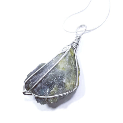 Natural Raw Fluorite wrapped pendant with silver chain