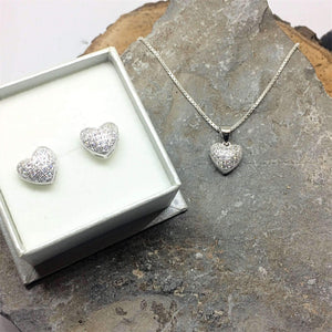 Silver Heart Earring & Necklace Set - G.D.Morgan Jewellery Collection