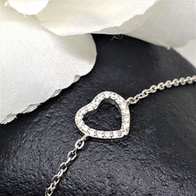 Women's CZ Heart Sterling Silver Bracelet pic 4 pretty