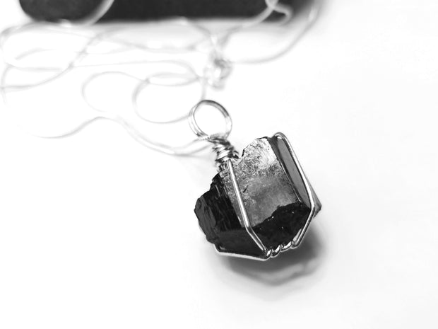 Men's Black Tourmaline wrapped pendant necklace with silver chain