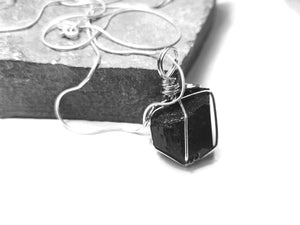 Natural black Tourmaline wrap with sterling silver snake chain