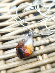 Unisex Natural Citrine Rough Necklace with sterling Silver chain