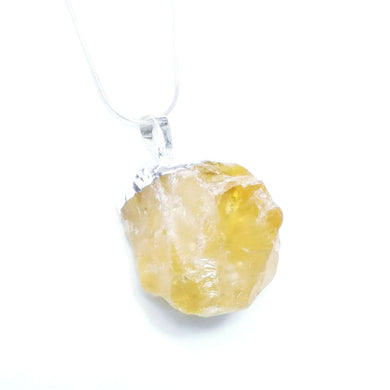 Natural Citrine Rough Pendant with sterling Silver chain