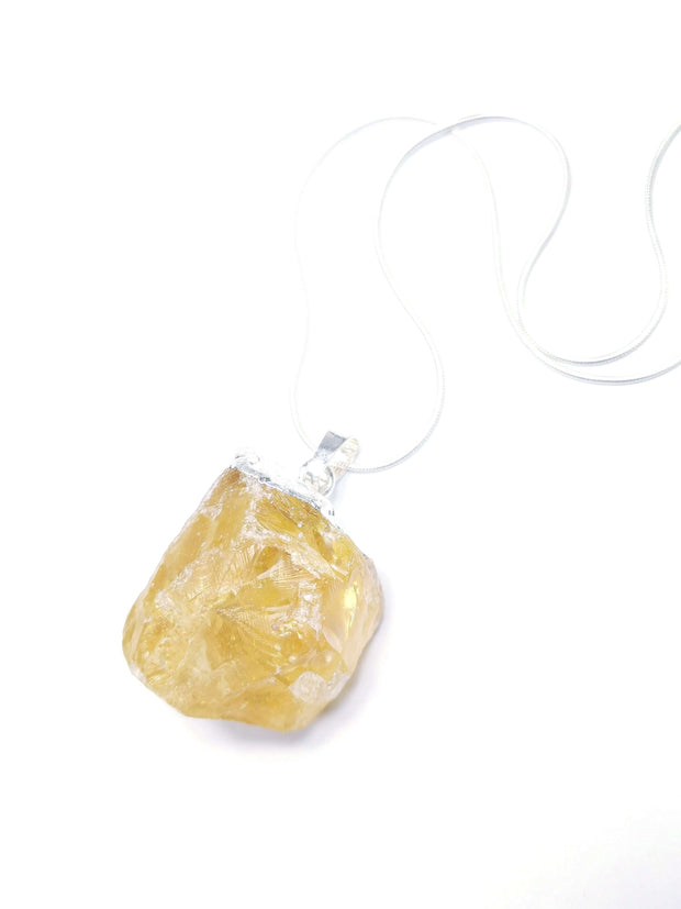 Women's rough Citrine necklace with sterling silver snake chain