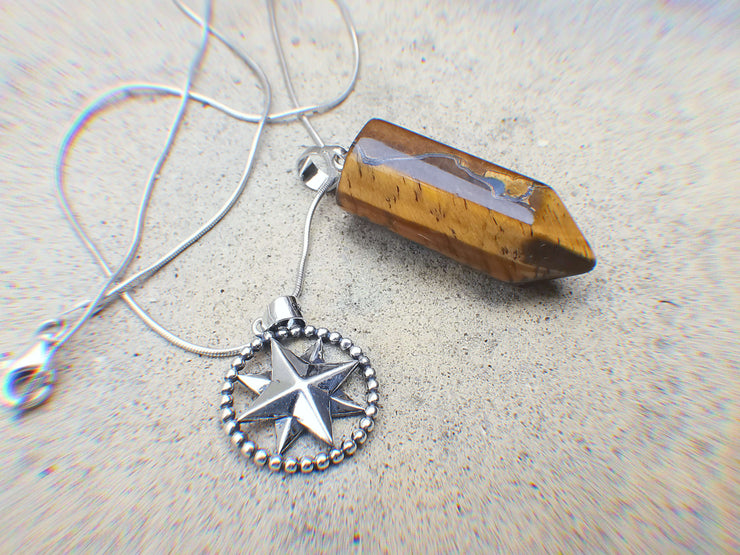 Tiger's Eye Bullet & Sterling Silver Star Compass Charm