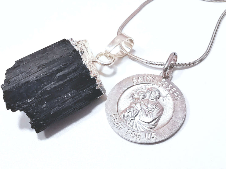 Natural Black Tourmaline & Sterling Silver St Joseph Charm