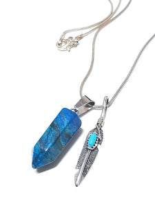 Blue Agate Bullet & Sterling Silver Feather Charm