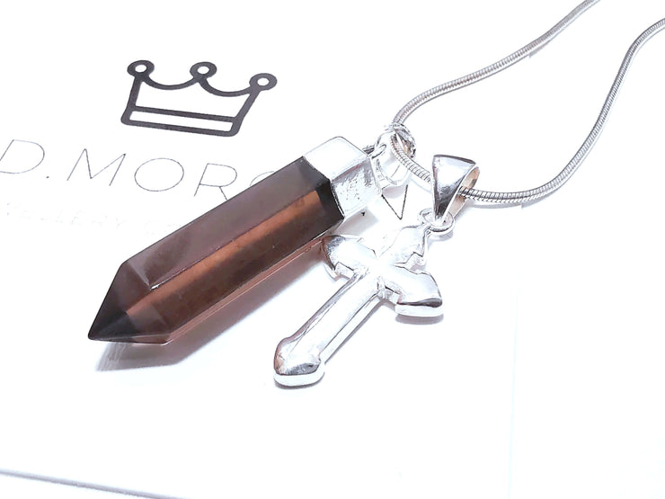 Smokey Quartz Point & Sterling Silver Cross Charm
