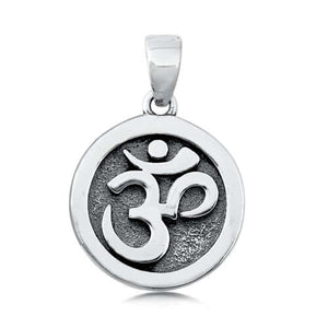 Sterling Silver Circle OM Symbol Charm