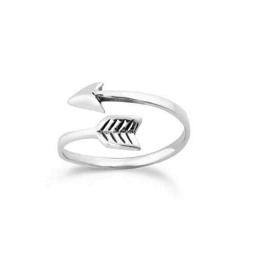 Women's Sterling Silver Overlapping Arrow Midi Ring