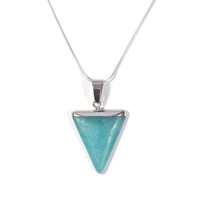 Amazonite Triangle pendant. Crystal of soothing.