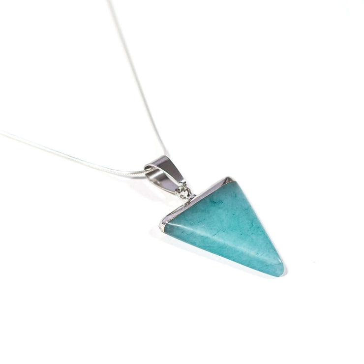 Amazonite Triangle pendant. Crystal of soothing.  Reduce anxiety and sooth emotional trauma