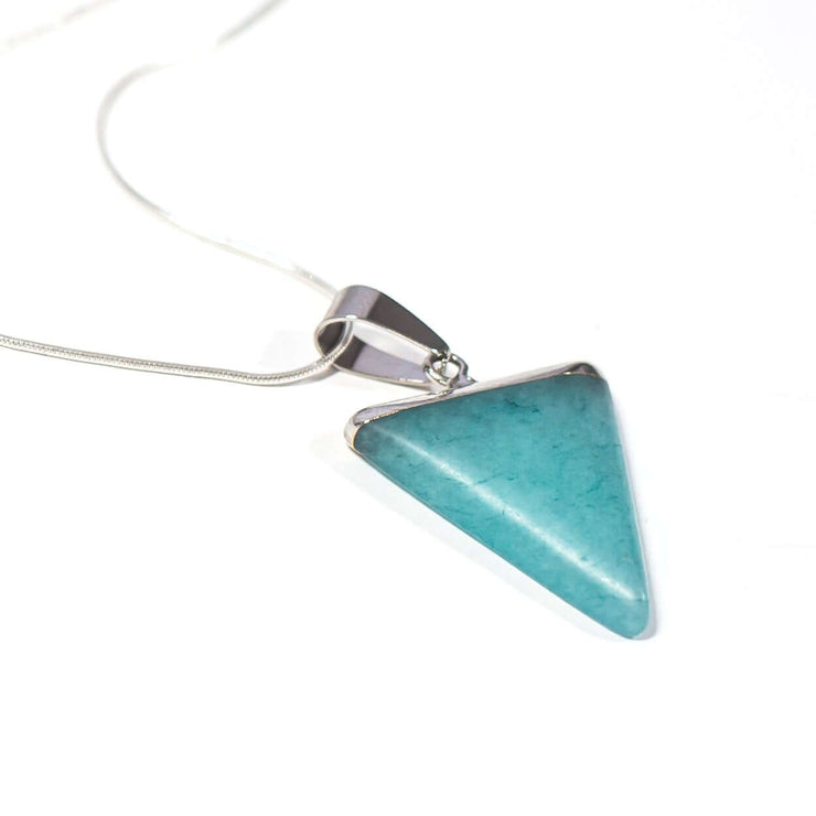 Amazonite Triangle pendant. Crystal of soothing.  Reduce anxiety