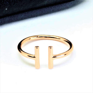 Rose Gold Open Bar Midi Ring - G.D.Morgan Jewellery Collection