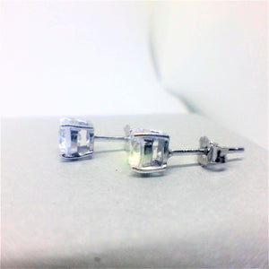Round Brilliant Cut Sterling Silver CZ Stud Earrings ~ 4mm ~ - G.D.Morgan Jewellery Collection