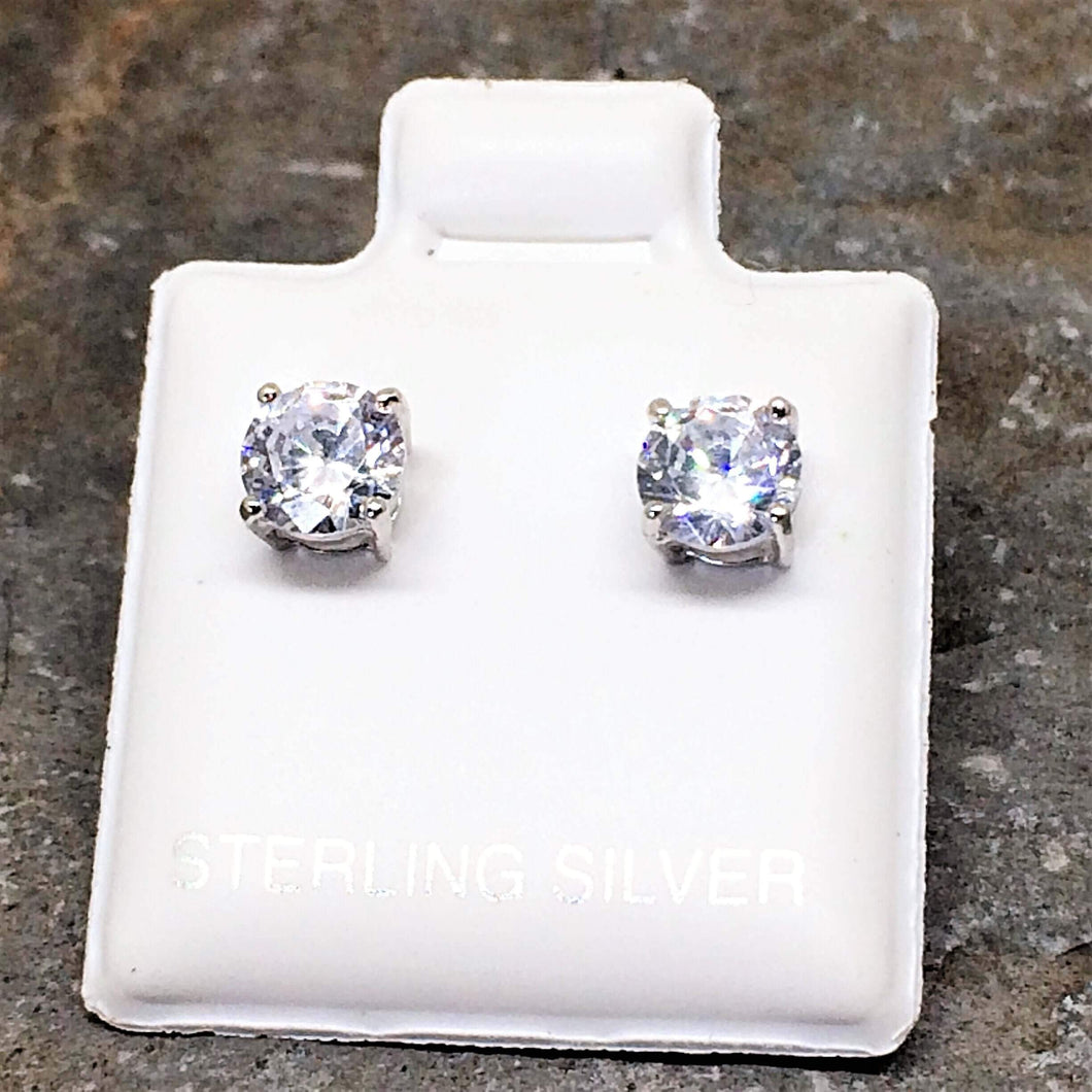 Round Brilliant Cut Sterling Silver CZ Stud Unisex Earrings ~ 5mm ~ - G.D.Morgan Jewellery Collection