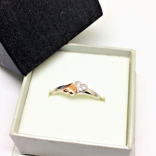 Silver & Rose Gold Double Heart Ring - G.D.Morgan Jewellery Collection