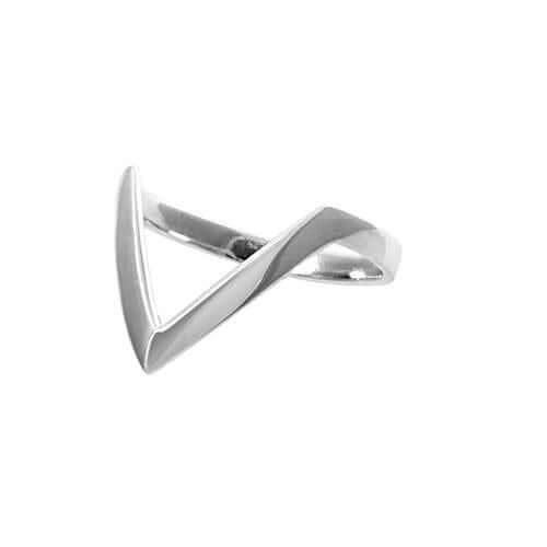 Women's Sterling Silver 'V' Midi Ring