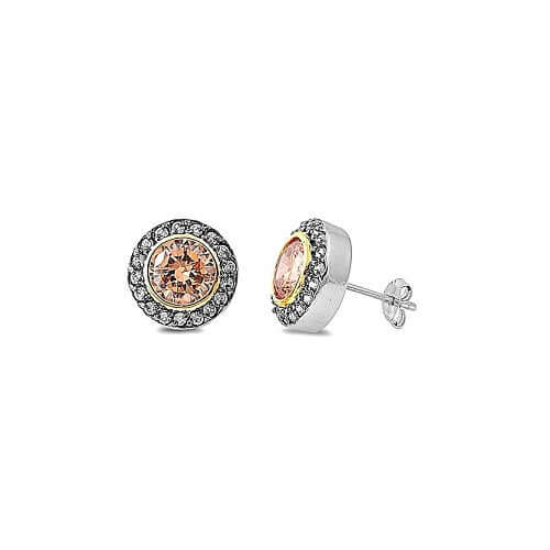Champagne & Rose Gold CZ Silver Studs