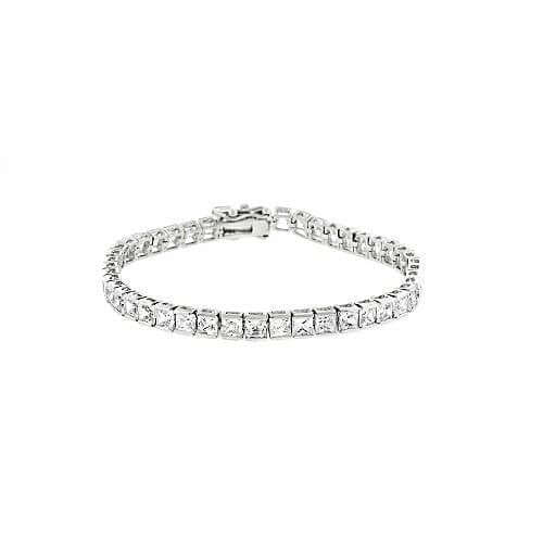 Channel Set Princess Cut CZ Silver Tennis Bracelet