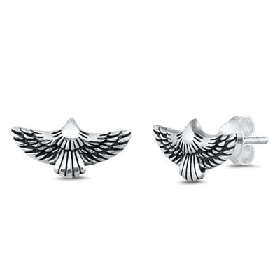 Men's Sterling Silver Eagle Stud Earrings