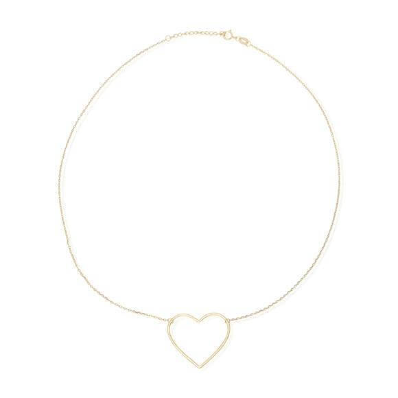 Women's Gold Heart Charm Necklace - G.D.Morgan Jewellery Collection