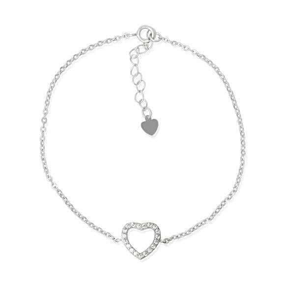 Women's CZ Heart Sterling Silver Bracelet pic 2 cute