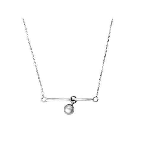 Sterling Silver Ball & Bar Charm Necklace
