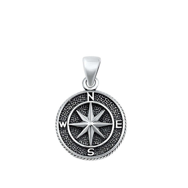 Oxidised Sterling Silver Compass Pendant