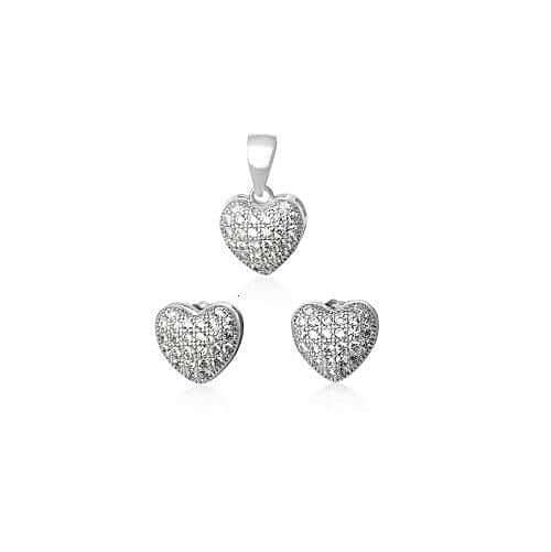 Silver Heart Earring & Necklace Set