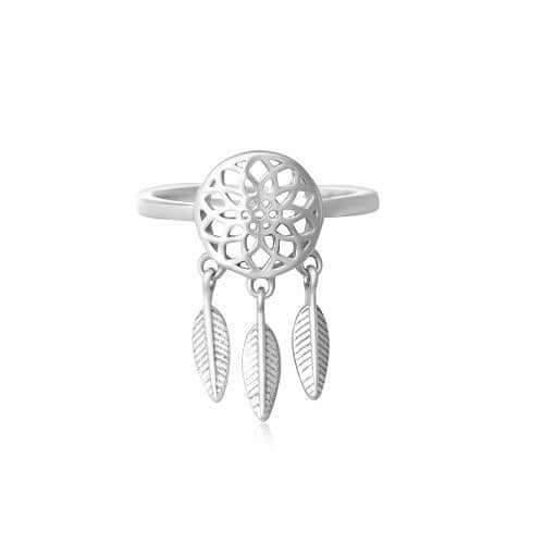 Women's Sterling Silver Dream Catcher Charm Ring