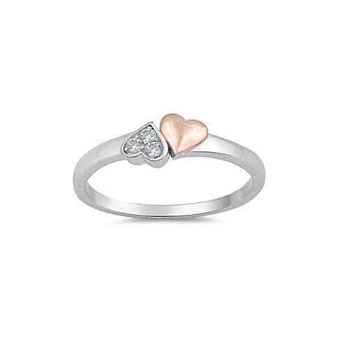 Silver & Rose Gold Double Heart Ring