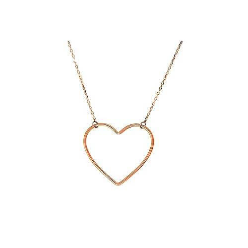 Women's Rose Gold Heart Charm Necklace