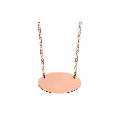 Rose Gold Oval Disc Necklace