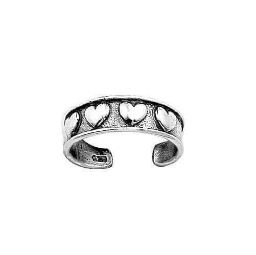 Sterling Silver Row of Hearts Toe Ring
