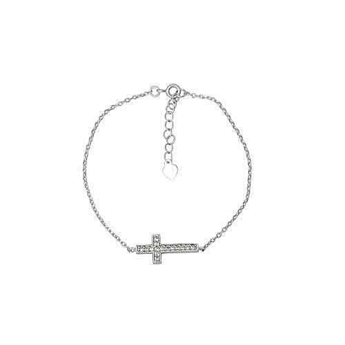 Sterling Silver & CZ Cross Bracelet