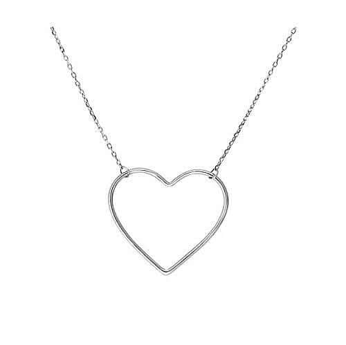 Women's Sterling Silver Heart Charm Necklace
