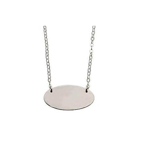 Sterling Silver Oval Disc Necklace
