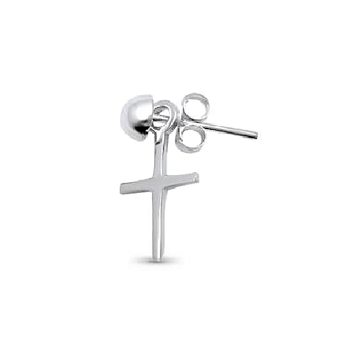 Men's Single Plain Silver Cross Earring