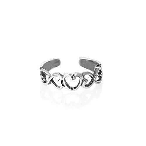 Sterling Silver Open Row of Hearts Toe Ring