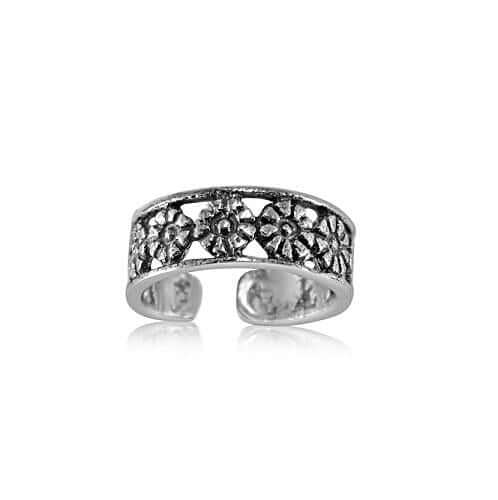 Sterling Silver Row of Flowers Toe Ring