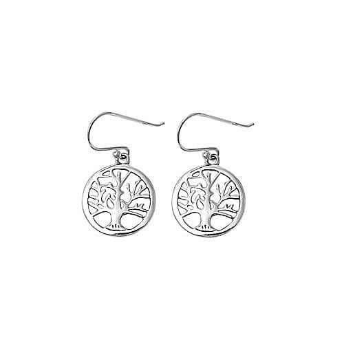 Sterling Silver Dangle Tree of Wisdom Earrings