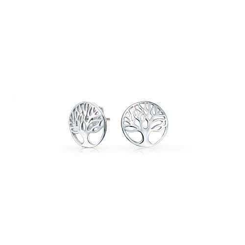 Sterling Silver Tree of Wisdom Stud Earrings